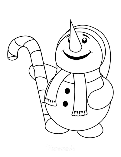 Snowman Coloring Pages Cute Snowman Looking Upwards Smiling Holding Candy Cane