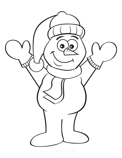 Snowman Coloring Pages Cute Snowman Outline Mittens Scarf Santa Hat