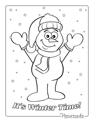 Snowman Coloring Pages Cute Snowman Outline Mittens Scarf Santa Hat