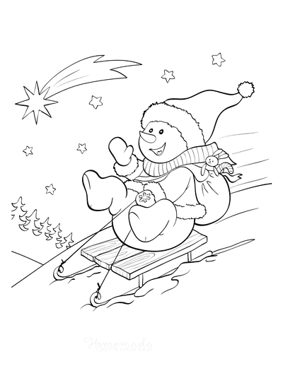 Snowman Coloring Pages Cute Snowman Sledding Down Hill Bunny Toy Shooting Star