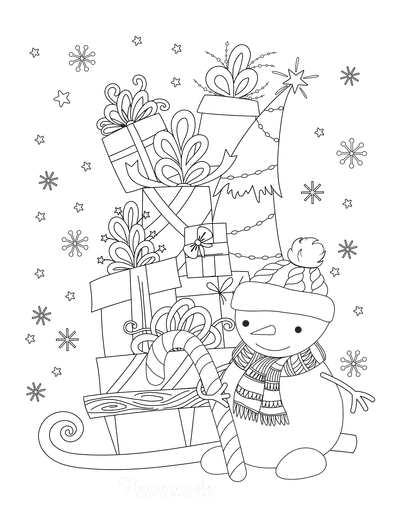 Snowman Coloring Pages Cute Snowman With Sled of Christmas Gifts Snowing