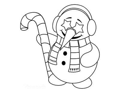 Snowman Coloring Pages Cute Star Eyes Ear Muffs