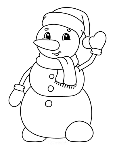 Snowman Coloring Pages Cute Waving Snowman Santa Hat