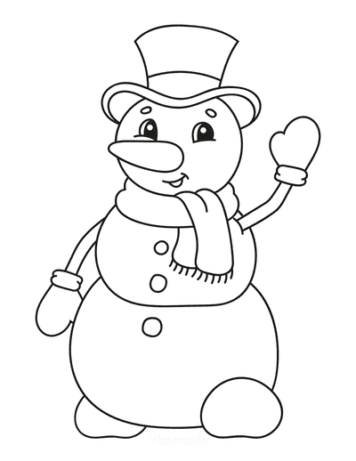 Snowman Coloring Pages Cute Waving Top Hat Gloves