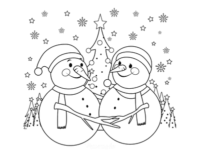 Snowman Coloring Pages Embracing Snowmen Christmas Tree