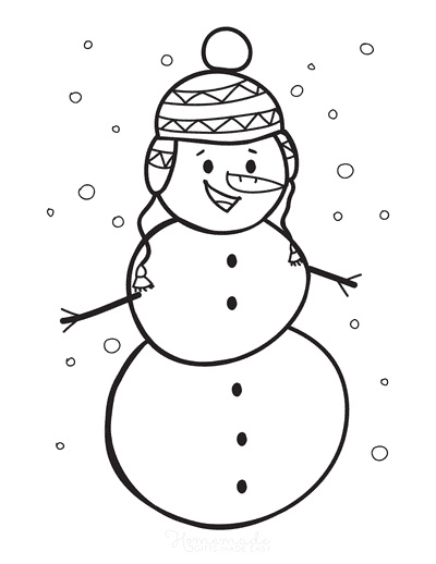 Snowman Coloring Pages Hat With Ear Flaps Snowing