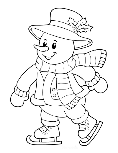 Snowman Coloring Pages Ice Skating Hat With Holly Coat Mittens