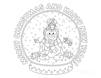 Snowman Coloring Pages Merry Christmas Happy New Year Snow Globe