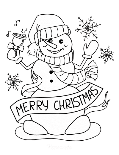 Snowman Coloring Pages Merry Christmas Scarf Bell Snowflakes