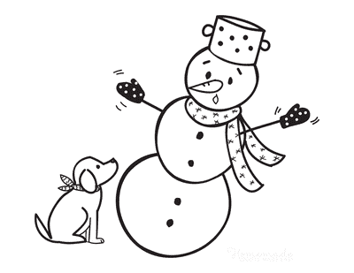 Snowman Coloring Pages Puppy With Snowman Falling Over