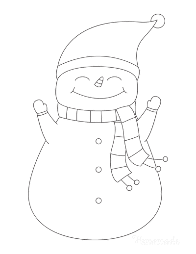 Snowman Coloring Pages Simple Cute Outline Scarf Santa Hat