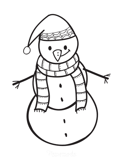 Snowman Coloring Pages Simple Outline Scarf Santa Hat