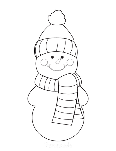 Snowman Coloring Pages Simple Preschoolers With Scarf
