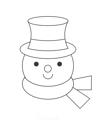 Snowman Coloring Pages Simple Snowman Head Outline With Top Hat Scarf