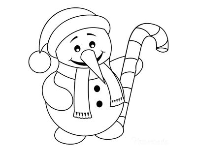Snowman Coloring Pages Simple Snowman Holding Candy Cane
