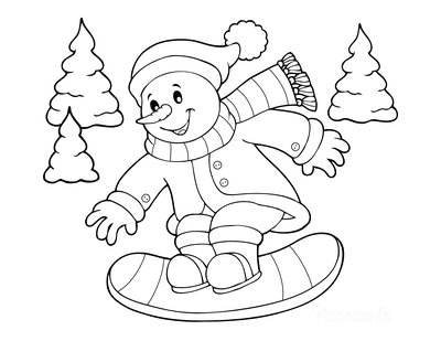 Snowman Coloring Pages Snow Boarding