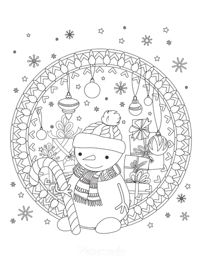 Snowman Coloring Pages Snowflakes Candy Cane Baubles Gifts