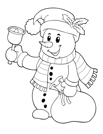 Snowman Coloring Pages Snowman Ringing Bell Holding Sack