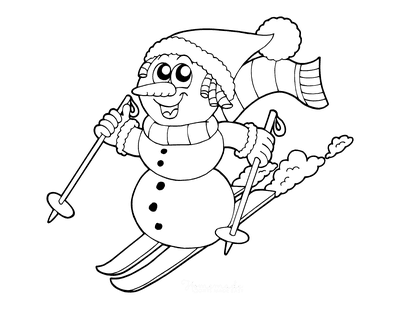 Snowman Coloring Pages Snowman Skiing Scarf Santa Hat