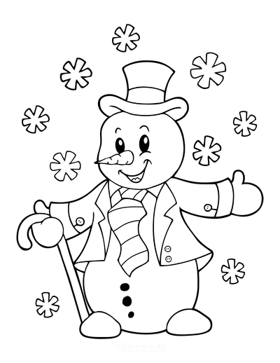 Snowman Coloring Pages Snowman Top Hat Neck Tie Cane Snowflakes