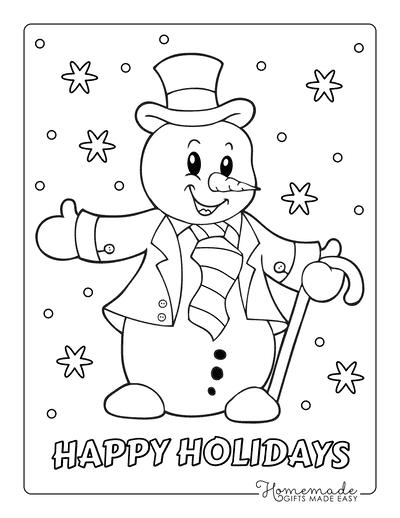 Snowman Coloring Pages Snowman Top Hat Neck Tie Cane Snowflakes