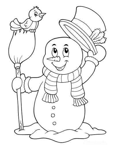 Snowman Coloring Pages Snowman With Broom Stick Cute Bird Top Hat