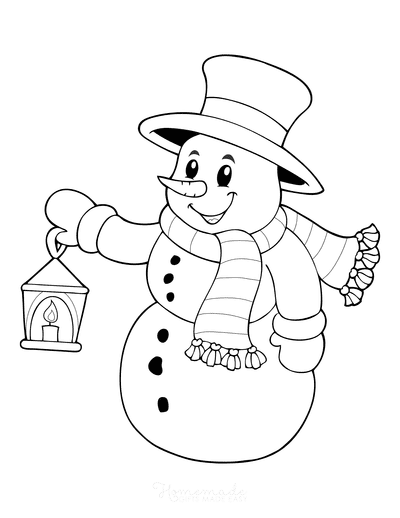 Snowman Coloring Pages Snowman With Top Hat Scarf Holding Lantern
