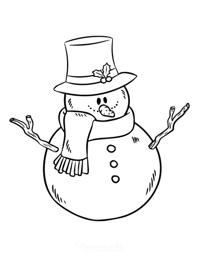 Snowman Coloring Pages Top Hat With Holly Stick Arms