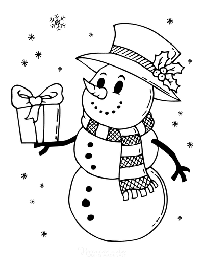 Snowman Coloring Pages Vintage Style Top Hat Holly Holding Gift