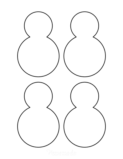 Snowman Template Outline 2 Sections Small
