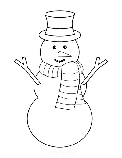 Snowman Template Top Hat Scarf Carrot Nose Large