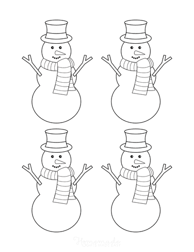 Snowman Template Top Hat Scarf Carrot Nose Small