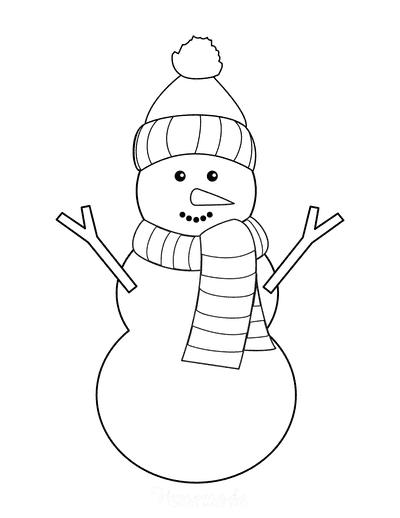Snowman Template Woollen Hat Scarf Carrot Nose Large