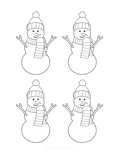 Snowman Template Woollen Hat Scarf Carrot Nose Small