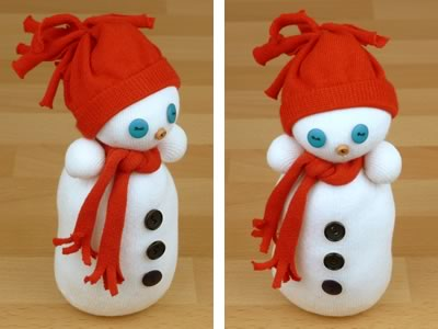completed sock snowman