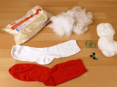 materials for making sock snowman