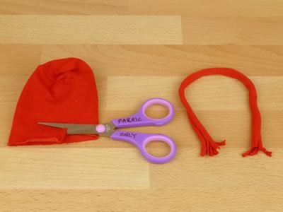 sock snowman - making a scarf from a red sock