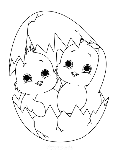 Spring Coloring Pages 2 Chicks Hatching Egg