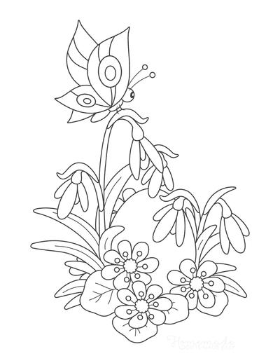 Spring Coloring Pages Butterfly Spring Bulbs Egg