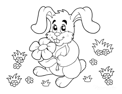 Spring Coloring Pages Cartoon Bunny With Flower