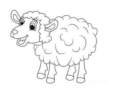 Spring Coloring Pages Cartoon Sheep Cute