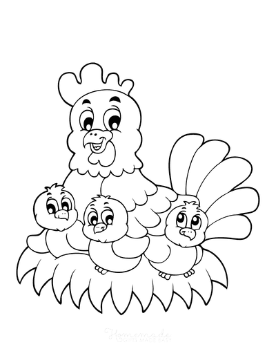 Spring Coloring Pages Chicken Nest Chicks