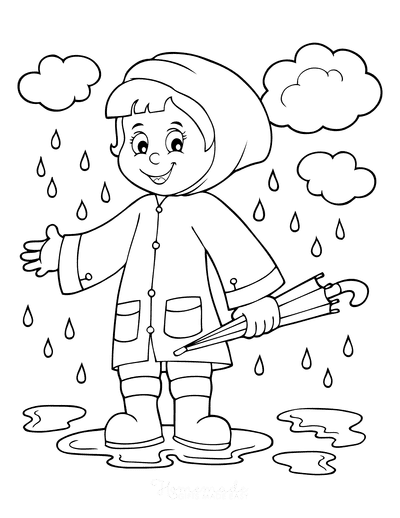 Spring Coloring Pages Child Rain Puddles