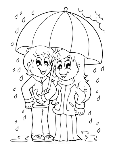 Spring Coloring Pages Children Rain Umbrella