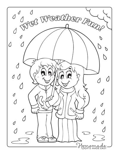 Spring Coloring Pages Children Rain Umbrella