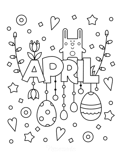 Spring Coloring Pages Cute April Poster to Color