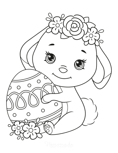 Spring Coloring Pages Cute Bunny Easter Egg Flowers