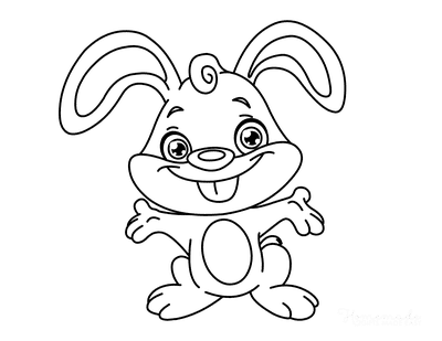 Spring Coloring Pages Cute Cartoon Bunny