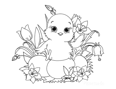 Spring Coloring Pages Cute Chick Eggs Spring Flowers