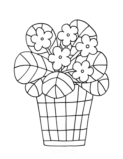 Spring Coloring Pages Cute Flower Pot